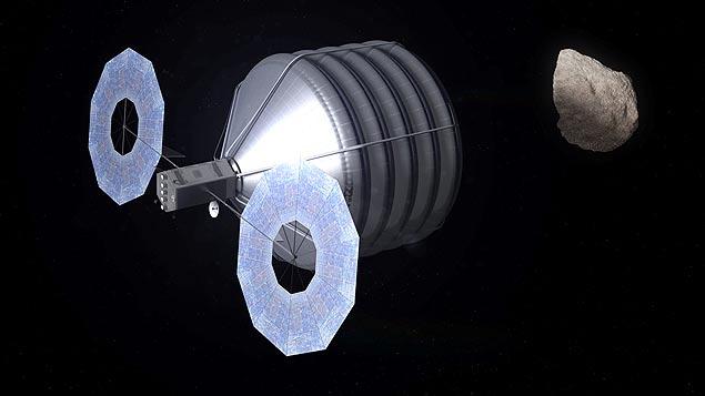Concepção artística mostra nave com compartimento flexível para capturar asteroide