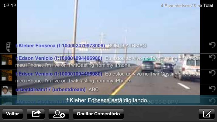 Modo horizontal com chat na tela