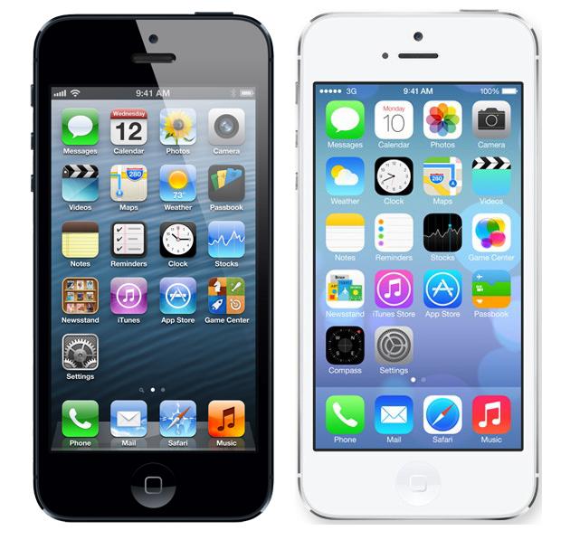 iOS 7 (à direita) traz grandes mudanças em relação ao sistema atual (Foto: Arte/Divulgação)