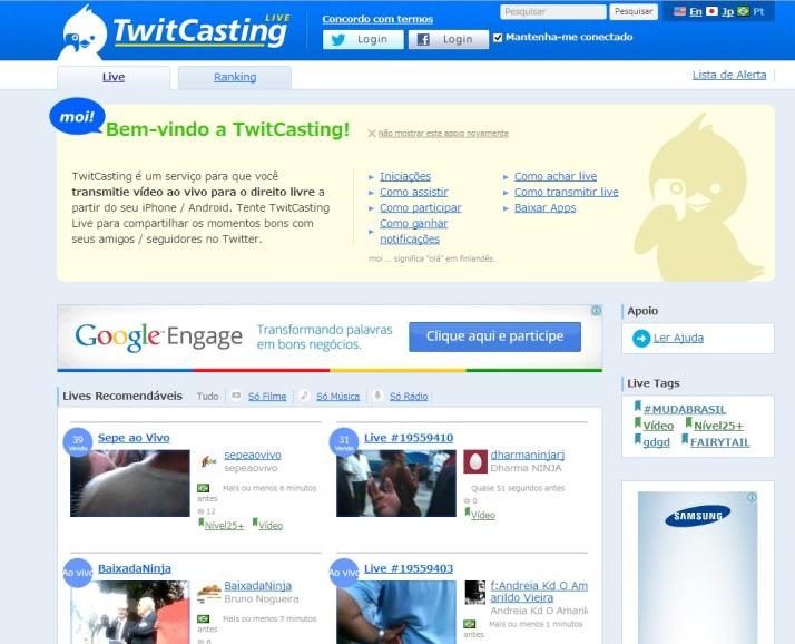 Página do Twitcasting